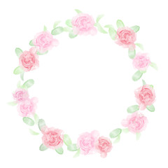 Watercolor style floral frame with pink soft roses and green leaves isolated on white background