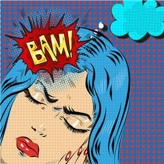 Woman in pop art retro comic style. Woman Oh emotional reaction speech bubble. headache