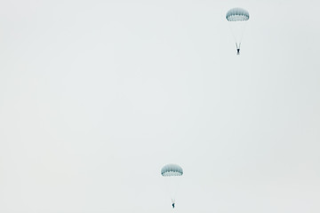 Two parachutists (skydivers) flying in the sky