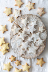 Star-shaped sugar-dusted shortbread cookies