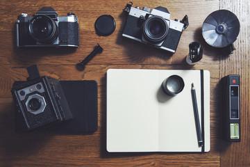 Film cameras and notebooks...