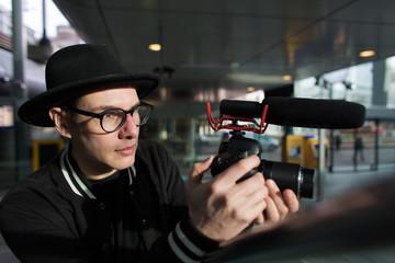 Creative man filming
