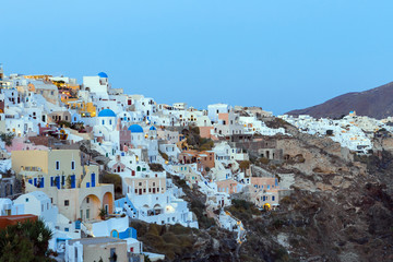 Dusk over Oia on the Greek island of Santorini.