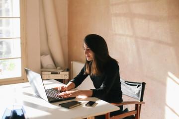 Beautiful brunette woman working on a laptop in her studio