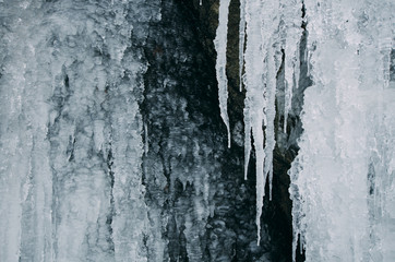 Icicles on frozen waterfall