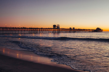 Oceanside pier in California at sunset