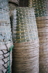 Stacks of empty baskets in a farm ready for the fruit harvest