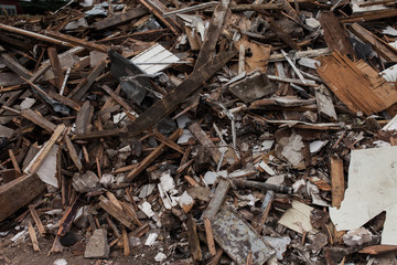 Destroyed building materials from a house demolition