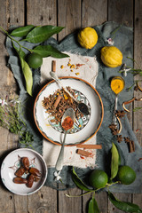 Lemons, limes and several species on a hand-painted spanish ceramics on a worn wood surface