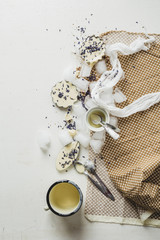 White chocolate pralines with lavender