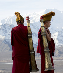 Two Buddhists with instruments, Ladakh, India