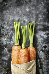 Three carrots with cut green tops