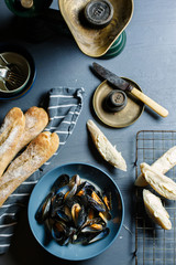 Moules mariniere served with crusty french bread.