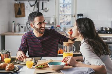 Couple in Love Having Breakfast