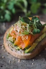 Salmon and avocado sandwich