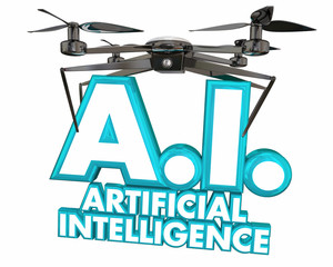 AI Artificial Intelligence Drone Machine Learning Sentient 3d Illustration