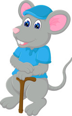cute mouse cartoon posing with smile