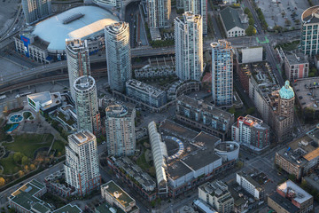 Vancouver Downtown, British Columbia, Canada - April 24, 2017 - Aerial view on the residential buildings.
