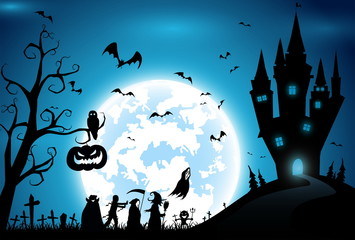 illustration background,festival halloween,full moon on dark night with many ghost and devil walking to castle for celebration halloween day