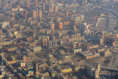 Fototapete Morning city Novosibirsk view from airplane
