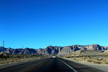 driving in the historical route 66 near Death Valley in Nevada in USA