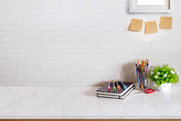 Contemporary desk Workplace with Supplies Concept. Desk space background.
