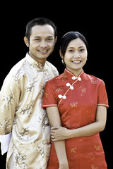 Asian Couple in Traditional Chinese Clothes
