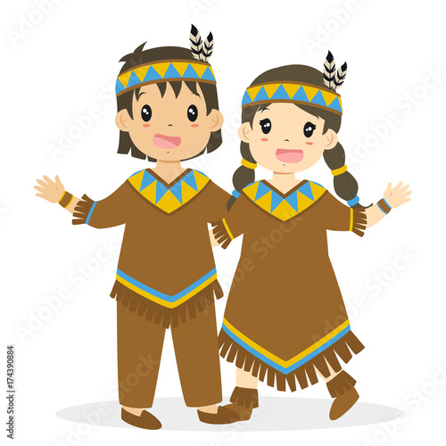 Thanksgiving Cute And Happy Native American Boy Girl Embracing Character Cartoon Vector