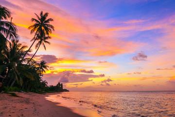Beautiful sunset on Bang Po beach. Koh Samui in Thailand.