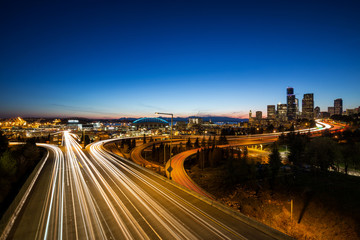 Long Exposure picture of Downtown Seattle, Washington, USA, during a colorful sunset.