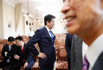 Japan's Prime Minister Shinzo Abe talks with his party's lawmaker Shinjiro Koizumi at the party lawmakers' meeting after the dissolution of the lower house was announced at the Parliament in Tokyo