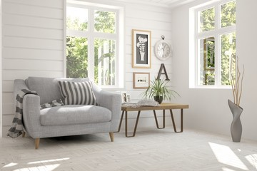 Idea of white room with armchair and summer landscape in window. Scandinavian interior design. 3D illustration