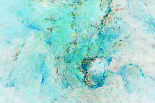 Abstract marble texture. Fractal background in blue, grey, green and beige colors. Fantasy digital art. 3D rendering.