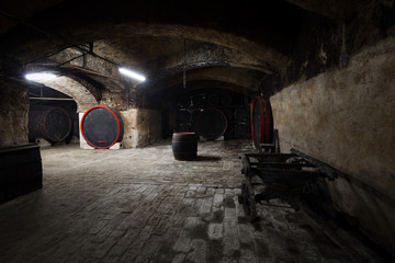 interior of an old wine cellar, barrels