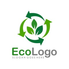 Green eco logo design template