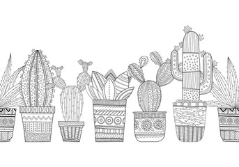 Black and white illustration of ornamental cacti and succulents for coloring books, pages