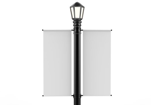 Blank white Lamp Post Banner poster 3d render for mock up and template design 3d render illustration.