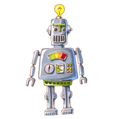 cartoon watercolor doodle robot