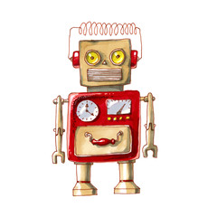 cartoon watercolor doodle robot