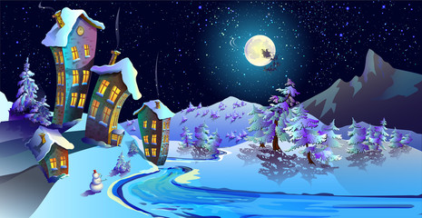 House with snow-covered roofs and shining Windows.Lunar, starry, Christmas night. Spruce covered with snow.  Road. Santa Claus is passing by in his sleigh. Horizontal. Snow-covered landscape.