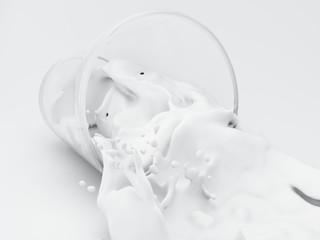 3d Milk splashing out of glass