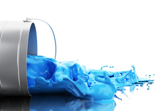 3d Blue paint splashing out of can