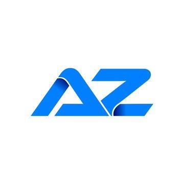 az logo initial logo vector modern blue fold style
