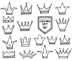 Set of Hand Drawn Cartoon Crowns.