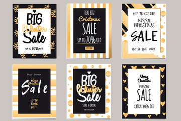 Collection of elegant shiny templates for Christmas sales. Typography poster, poster, banner, label. Templates to sales with letters.