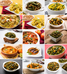 stock photo of collage of indian popular main course vegetable recipe best suitable for restaurant menu card design