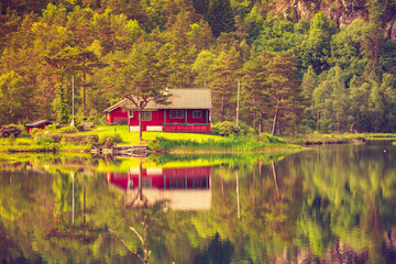 Printed roller blinds Lake wooden cabin in forest on lake shore, Norway
