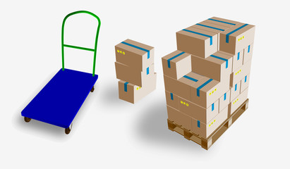 Closed box, delivery of boxes with fragile signs on wooden pallet and storage trolley, isolated on white background vector illustration.