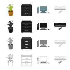 Equipment, office, attributes and other web icon in cartoon style.Air ,conditioner, remote,icons in set collection.