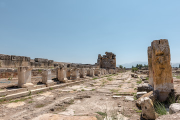 View of latrine along Frontinus Street at Hierapolis ancient city in Pamukkale, Turkey.